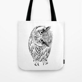 Northern white-faced owl tilted neck Tote Bag