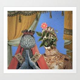 Queen Artichoke and King Flower Pot Art Print