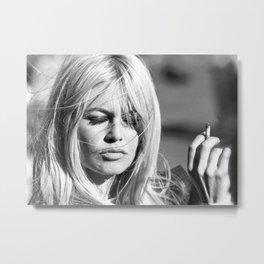 Brigitte Bardot with Cigarette Retro Vintage Art Metal Print