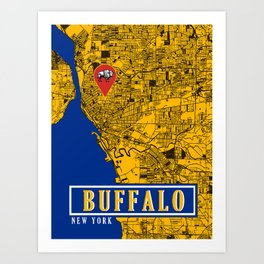 BUFFALO MAP Art Print
