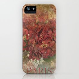 Vintage Red Hydrangea Flowers In Paris iPhone Case