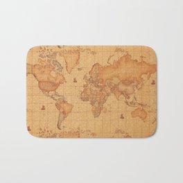 World Map LeaTher Bath Mat