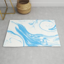 Suminagashi 2 blue and white marble spilled ink ocean swirl watercolor painting Rug