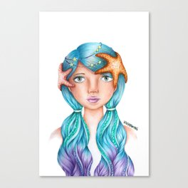 """Element Girls Drawing - """"Water""""  Canvas Print"""