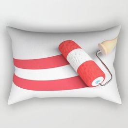 Roller paint brush giving to a white surface the colors of the flag of Austria - 3D rendering illust Rectangular Pillow