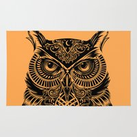 orange Area & Throw Rugs featuring Warrior Owl 2 by Rachel Caldwell