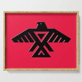 Thunderbird flag - Black on Red variation Serving Tray