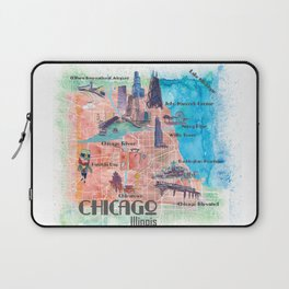 Chicago Illinois USA Illustrated Map with Main Roads Landmarks and Highlights Laptop Sleeve