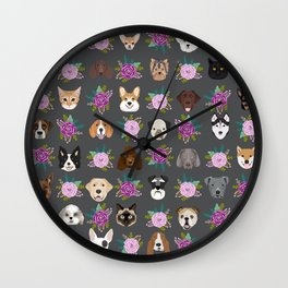 Dogs and cat breeds pet pattern cute faces corgi boston terrier husky airedale Wall Clock