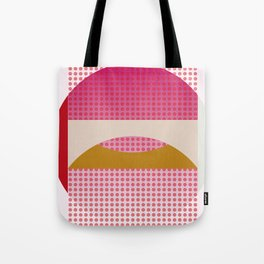 Red Fog, Geometric Landscape Tote Bag
