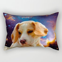 beagle puppy on the wall looking at the universe Rectangular Pillow