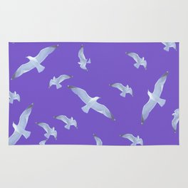 purple seagull day flight Rug