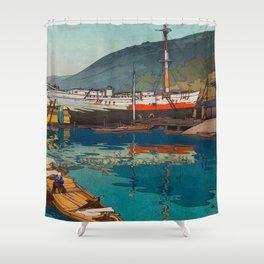 Kinoe harbor Hiroshi Yoshida Vintage Japanese Woodblock Print Shower Curtain