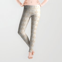 Two Leaves Pattern - color: Ivory Tower  Leggings