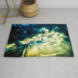 The Sun Is Breaking Through The Dramatic Stormy Clouds. Summer Weather Rug