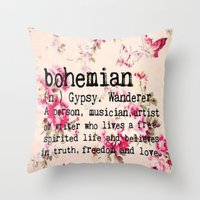 bohemian Throw Pillows featuring Bohemian by Luxe Glam Decor