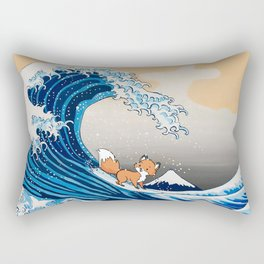 Foxes Surfing The Great Wave Rectangular Pillow
