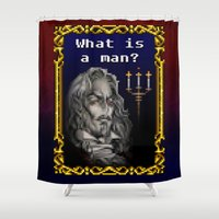 dracula Shower Curtains featuring Dracula Jeopardy by likelikes