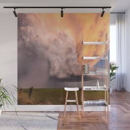 Storm Runner - Thunderstorm in Golden Light Over Kansas Landscape Wall Mural