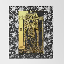Floral Tarot Print - The High Priestess Throw Blanket