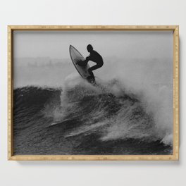 Surf black white Serving Tray