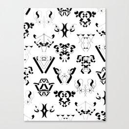 0-9 - Black & White Canvas Print