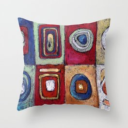 Buffet - abstract multi-colored pastel drawing. Good painting for a modern interior Throw Pillow