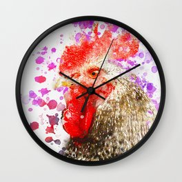 Rooster Watercolor, Painted Roost Art, Cool Chicken, Splatter Rooster Design, Rooster Decor Wall Clock