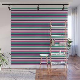 Pink green purple geometrical stripes pattern Wall Mural