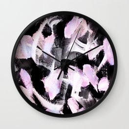 light pink and black abstract painting Wall Clock