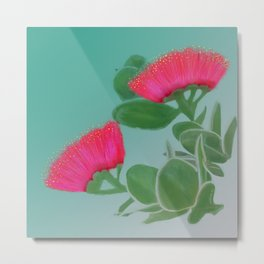 Hawaii Red Lehua Blossom Metal Print