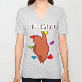 Bouldering Sloth Boulderer And Sloth Lover Gift Unisex V-Neck