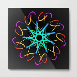 Guilloche green and galactic signs. Four neon objects for a certificate or a voucher. Metal Print