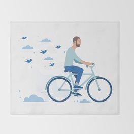 bird man bike Throw Blanket