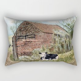 Farm Shed with Cow Rectangular Pillow