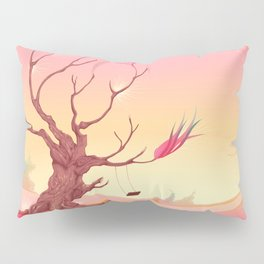 Romantic landscape with tree and sunset Pillow Sham