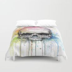 Skull Rainbow Watercolor Painting Skulls Duvet Cover