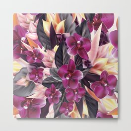 Orchid flowers with palm leafs Metal Print