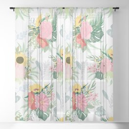 Girly Watercolor Poppy & Sunflowers Floral Design Sheer Curtain