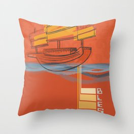 Poster Project   Bless Ship Orange Throw Pillow