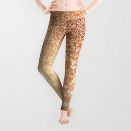 Cozy Copper Espresso Brown Ombre Autumnal Mermaid Glitter Leggings