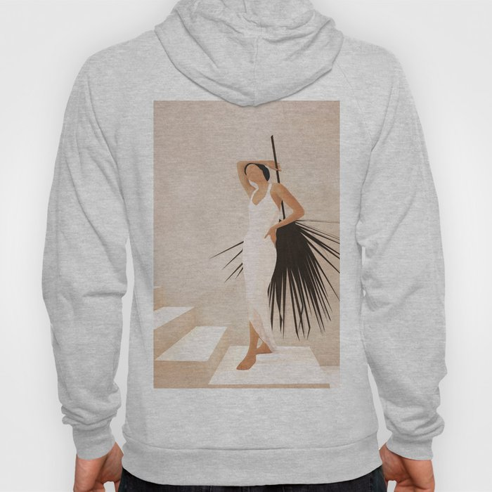 Minimal Woman with a Palm Leaf Hoody