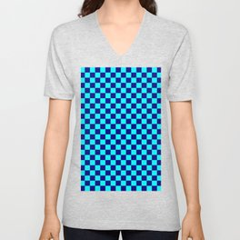 Cyan and Navy Blue Checkerboard Unisex V-Neck