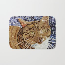 Tiger Cat - Stained Glass Mosaic Bath Mat