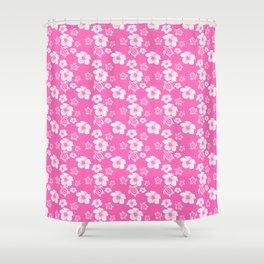 Pink Hibiscus Honu Hawaiian Pattern Shower Curtain
