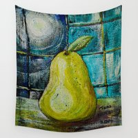 pear Wall Tapestries featuring Moon Pear by Teri Newberry