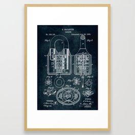 1885 - Padlock patent art Framed Art Print