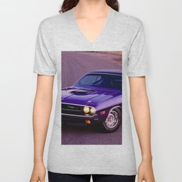 1970 Plum Crazy Purple 426 Hemi Challenger RT Unisex V-Neck