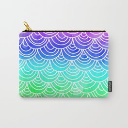 Modern summer scallop fish scale watercolor neon gradient pattern Carry-All Pouch