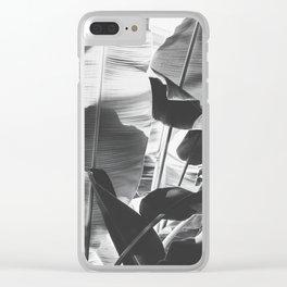Black and White Banana Leaf Clear iPhone Case